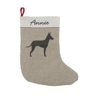 Manchester Terrier Silhouette with Custom Text Small Christmas Stocking