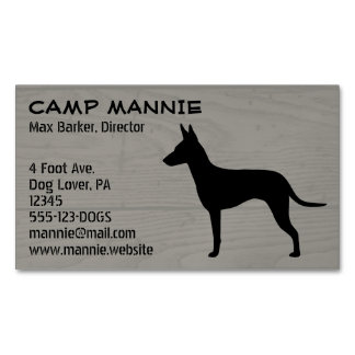 Manchester Terrier Silhouette Wood Grain Magnetic Business Cards