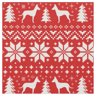 Manchester Terrier Silhouettes Christmas Pattern Fabric