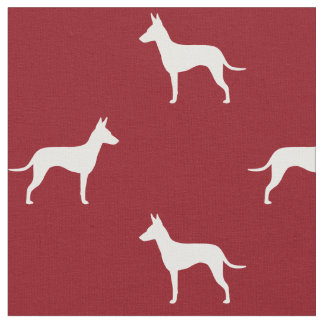 Manchester Terrier Silhouettes Pattern Red Fabric