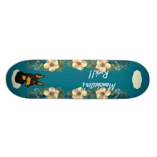 Manchester Terrier - Turquoise Floral Design Skateboard Deck