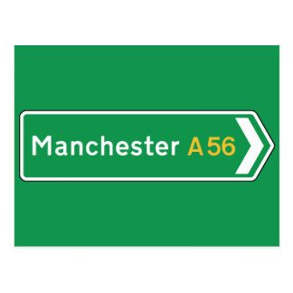 Manchester, UK Road Sign Postcard