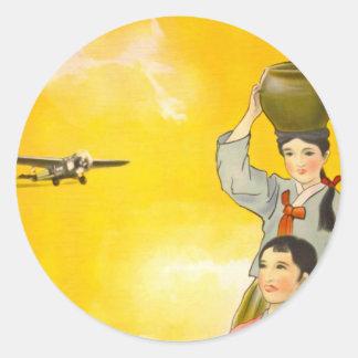 Manchuria Air Classic Round Sticker
