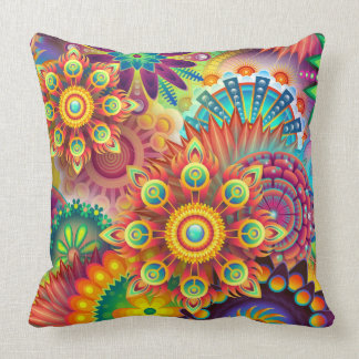 Mandala Abstract Spiritual Psychedelic Trippy Throw Pillow