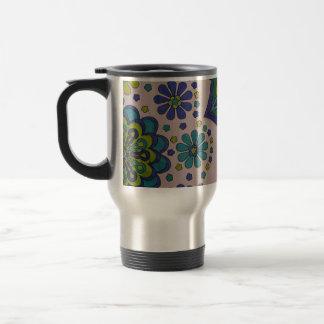 Mandala and Flowers in Aqua, Blues and Greens Travel Mug