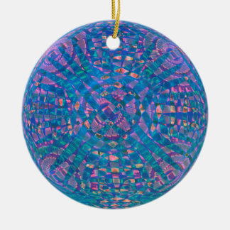 Mandala Aqua Round Ceramic Decoration