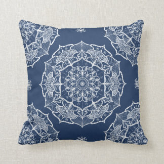 Mandala art design white navy blue pattern pillow