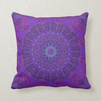 Mandala art drawing design purple fuchsia pillow
