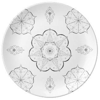 Mandala Art Patterns Floral black white yoga Plate