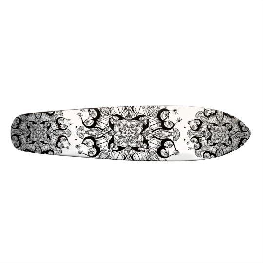 """Mandala"" Black and White Skateboard Design"
