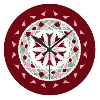 Mandala burgandy, green, pink mosaic wall clock