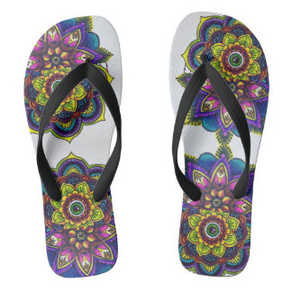 mandala burst flip flops
