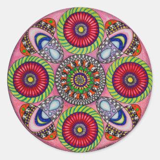 Mandala Cards Round Sticker