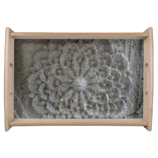 Mandala Carved Stone  Photo Serving Tray, Natural Serving Tray