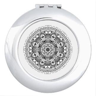 Mandala Circle Travel Mirror