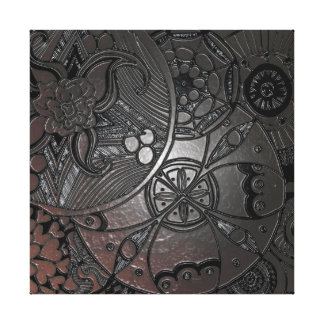 Mandala circles, embossed look, dark color gallery wrapped canvas