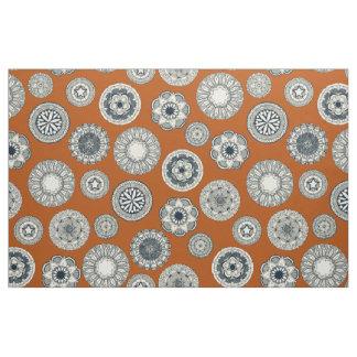mandala cirque spot orange fabric