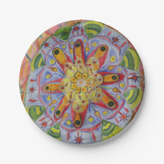 Mandala Colorful Art Custom Paper Plates 7 in 7 Inch Paper Plate