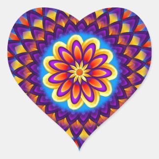 Mandala Dahlia Heart Sticker