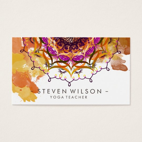 Mandala Damask Yoga Meditation Holistic Massage Business Card