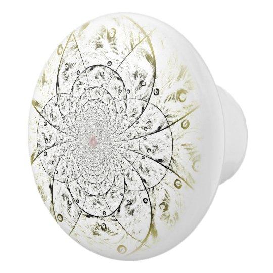 Mandala Delicate Flower Ceramic Knob