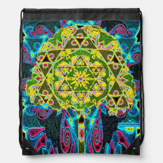 Mandala Designed Tree of Life Drawstring Bag