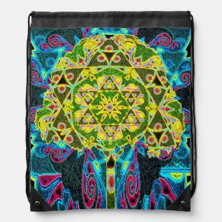 Mandala Designed Tree of Life Drawstring Bags