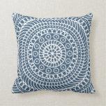 Mandala Doodle Dark Denim Blue Cushion