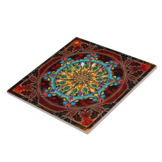 Mandala Droplets (Blue Flame) Tile