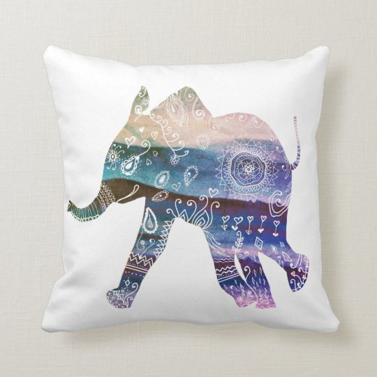 Mandala Elephant Art Throw Cushion