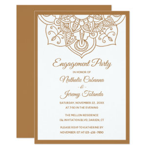Mandala Engagement Party Brown Boho Indian Modern Invitation