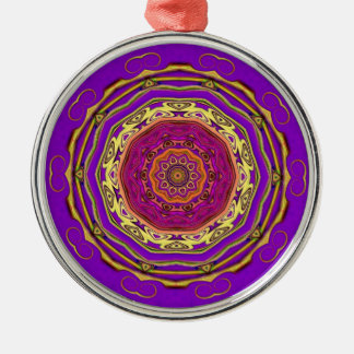mandala ethnic Silver-Colored round decoration