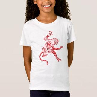 Mandala Fire Monkey Fitted Babydoll T-Shirt, White T-Shirt