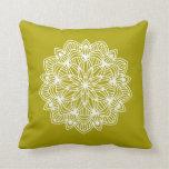 Mandala Flower 1 Chartreuse Green Cushion
