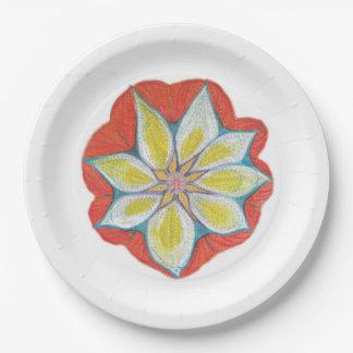 Mandala flower Custom Paper Plates 9 in