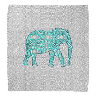 Mandala flower elephant - turquoise, grey & white bandana