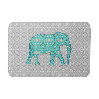 Mandala flower elephant - turquoise, grey & white bath mat