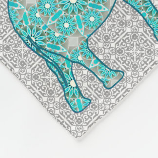Mandala flower elephant - turquoise, grey & white fleece blanket