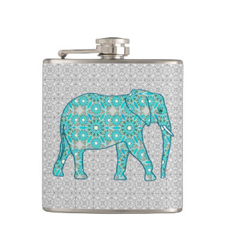 Mandala flower elephant - turquoise, grey & white hip flask