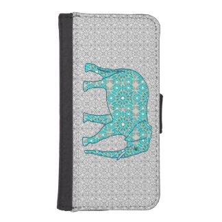 Mandala flower elephant - turquoise, grey & white iPhone SE/5/5s wallet case