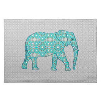 Mandala flower elephant - turquoise, grey & white placemat