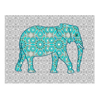 Mandala flower elephant - turquoise, grey & white postcard