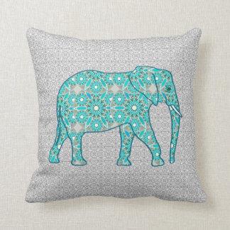 Mandala flower elephant - turquoise, grey & white throw cushion