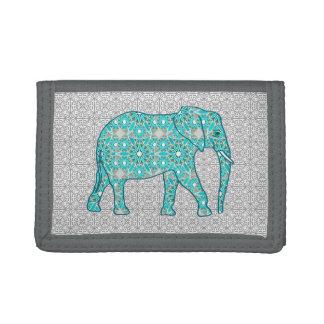 Mandala flower elephant - turquoise, grey & white tri-fold wallets