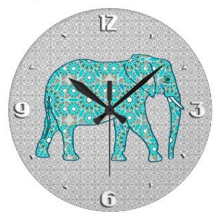 Mandala flower elephant - turquoise, grey & white wallclock