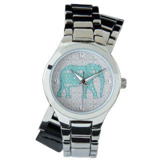 Mandala flower elephant - turquoise, grey & white watch