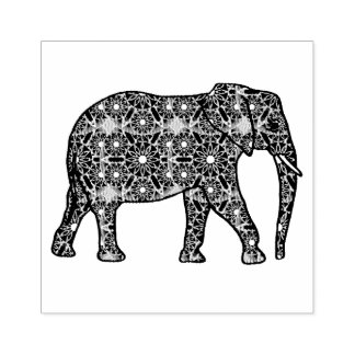 Mandala flower embellished elephant rubber stamp