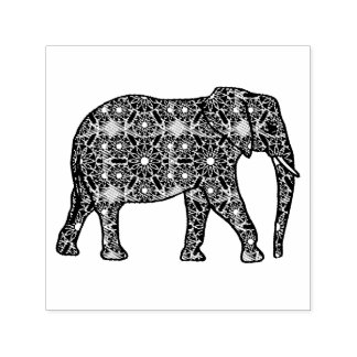 Mandala flower embellished elephant self-inking stamp