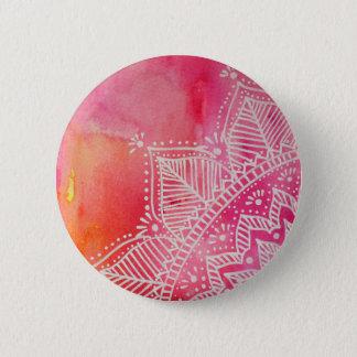 Mandala flower on watercolor background - pink 6 cm round badge