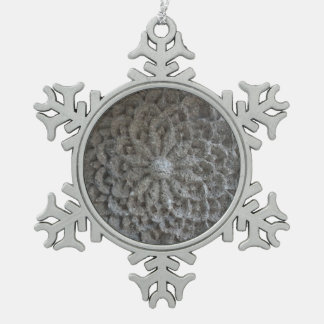Mandala Flower Stone Pewter Snowflake Decoration